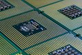 Closeup of aligned CPU Computer Processor. Background Royalty Free Stock Photo