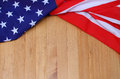 Closeup of American flag on wood background Royalty Free Stock Photo