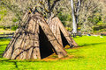 Closeup Of American Indian Tepees & Lodging Royalty Free Stock Photo