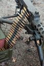 American machine gun during the world war two reconstitution Royalty Free Stock Photo