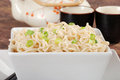 Closeup asian noodles with spring onions Royalty Free Stock Images