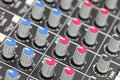 Closeup of audio mixing console Royalty Free Stock Image