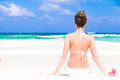 Closeup back view young woman in bikini and remote tropical countries travel concept Royalty Free Stock Photo