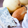 Closeup of baguette,blue cheese and pear Royalty Free Stock Images