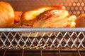 Closeup bakery inside tray oven Stock Images