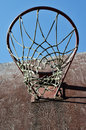 Closeup of basketball backboard and hoop outdoor old Stock Image