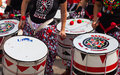 Closeup of batala drummers barcelona catalonia september at festival on septebmer in barcelona catalonia dia de brasil festival Stock Photos