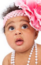 Closeup of Beautiful Baby With Flower Headband Stock Photo