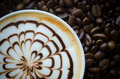 Closeup of a beautiful cup of hot coffee Royalty Free Stock Photo