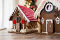 Closeup of beautiful gingerbread houses at home holidays christmas baking and sweets concept Royalty Free Stock Images