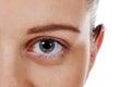Closeup beautiful woman eye with long lashes Royalty Free Stock Photo
