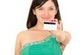 Closeup beautiful young woman holding credit card Royalty Free Stock Photo