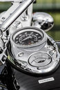 Closeup of a big chromium motorcycle engine shiny chrome plated motorbike s chromed bikes in street silver Stock Image