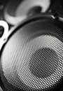 Closeup of a black speaker sub woofer Royalty Free Stock Photo