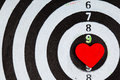 Closeup black white target with heart bullseye as love background Royalty Free Stock Photo