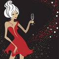 Closeup blond woman with glass of champagne. Royalty Free Stock Photo