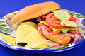 Closeup of blt on colorful plate with italian cold cuts cheese and cucumbers served with potato chips Stock Photography