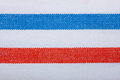 Closeup of blue red white striped textile as background or texture Royalty Free Stock Photo