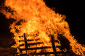 Closeup bonfire at Jewish holiday of Lag Baomer Royalty Free Stock Photo