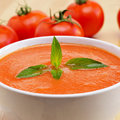 Closeup of a bowl with spanish gazpacho and some tomatoes Royalty Free Stock Photography