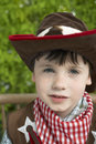 Closeup of boy in cowboy costume portrait a cute Royalty Free Stock Image