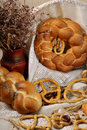 Closeup with bread and pretzel Stock Images