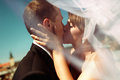 A closeup of a bride kissing a groom in the front of Lemberg`s r Royalty Free Stock Photo