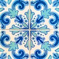 A closeup of bright blue and cyan coloured Portuguese tiles