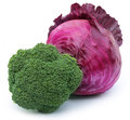 Closeup of broccoli with red cabbage over white background Stock Photo