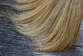 Closeup of broom on wooden background Royalty Free Stock Image