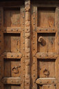 Closeup of Brown Indian Wood Door Royalty Free Stock Photo