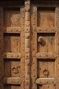 Closeup of Brown Indian Wood Door Royalty Free Stock Photo