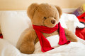 Closeup of brown teddy bear in red scarf lying in bed Royalty Free Stock Photo