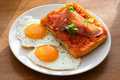 Closeup of Bruschetta with eggs Royalty Free Stock Photo