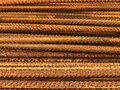 Closeup of old weathered iron armature, metal wire reinforcement background. Steel construction backdrop, metal Royalty Free Stock Photo