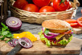 Closeup burger made ​​from fresh vegetables beaf old wooden table Royalty Free Stock Photography
