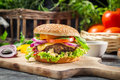 Closeup burger made ​​from vegetables beaf old wooden table Stock Photos