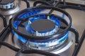 Closeup of burning gas burner of stove Royalty Free Stock Photo