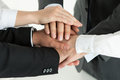 Closeup of business team showing unity with putting their hands together on top each other concept teamwork Royalty Free Stock Photos