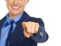 Closeup on business woman pointing in camera happy Royalty Free Stock Photography