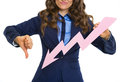 Closeup on business woman showing graph arrow going down and thumbs Stock Photos
