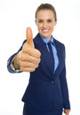 Closeup on business woman showing thumbs up isolated white Royalty Free Stock Photography
