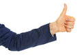 Closeup on business woman showing thumbs up isolated white Stock Photos