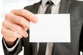 Closeup of businessman showing blank white business card Royalty Free Stock Photo