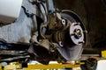 Closeup of car in process of repairing brake pads and disk service Royalty Free Stock Image