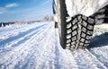 Detailné z auto pneumatiky v zime