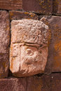 Closeup of carved stone tenon-head Royalty Free Stock Images