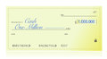 Closeup of check made out for one million dollars illustration design over a white background Stock Images
