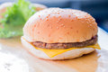 Closeup of a cheese burger Royalty Free Stock Photo