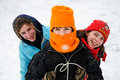 Closeup of children on toboggan Stock Photos